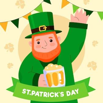 Płaski św. patrick's day ilustracja z mężczyzną trzymającym kufel piwa i macha