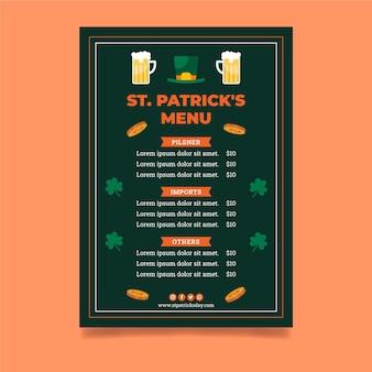 Płaski św. szablon menu dzień patryka