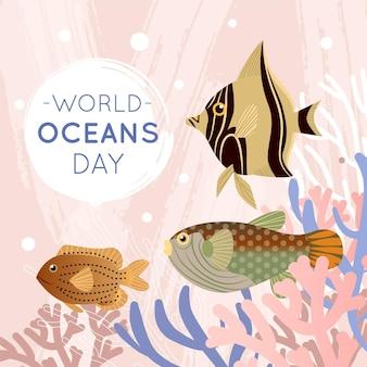 Płaski świat dzień oceanów tło