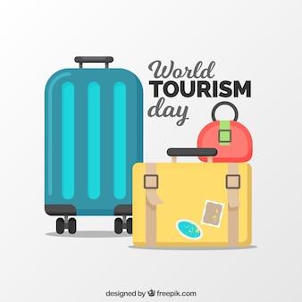 Płaski świat turystyki dzień skład z bagażem
