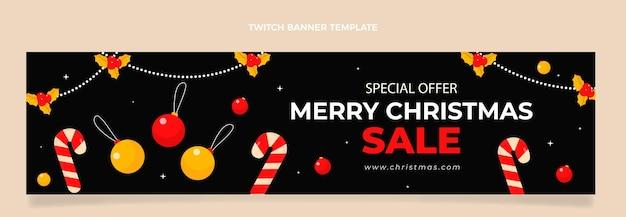 Płaski świąteczny baner twitch