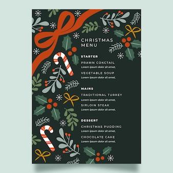 Płaski świąteczny szablon menu restauracji świątecznej