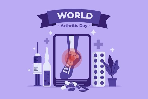 Płaski światowy dzień artretyzmu w tle