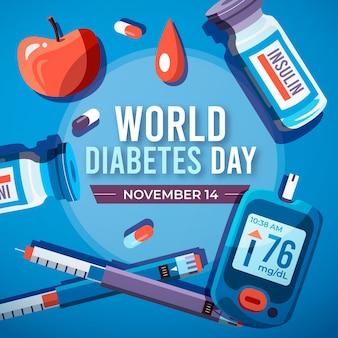 Płaski światowy dzień cukrzycy w tle