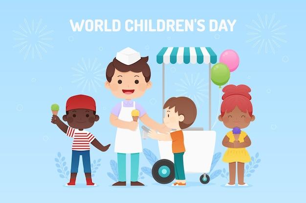 Płaski światowy dzień dziecka ilustracja