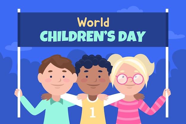 Płaski światowy dzień dziecka w tle