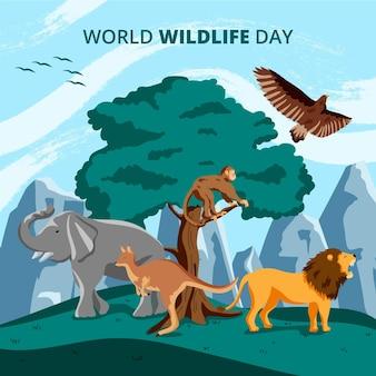 Płaski światowy dzień dzikiej przyrody