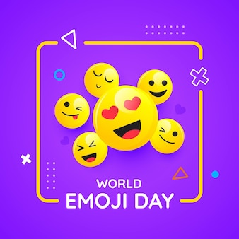 Płaski światowy dzień emoji