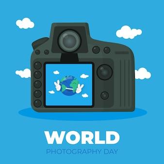 Płaski światowy dzień fotografii tło