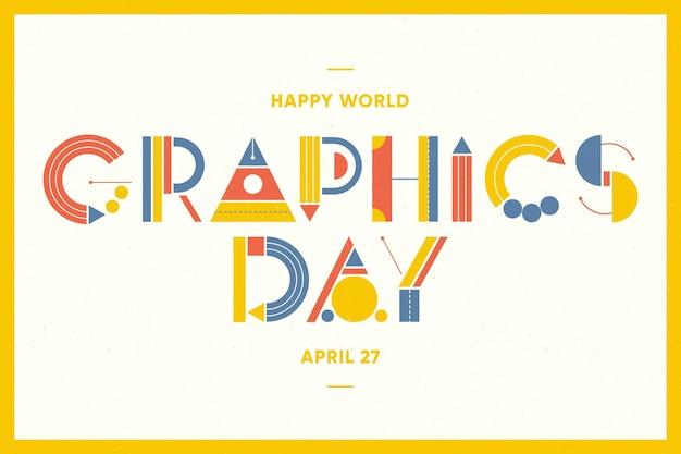 Płaski światowy dzień grafiki poziomy baner