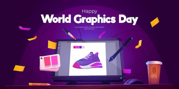 Płaski światowy Dzień Grafiki Poziomy Baner Darmowych Wektorów