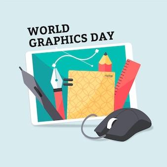 Płaski światowy Dzień Grafiki Darmowych Wektorów