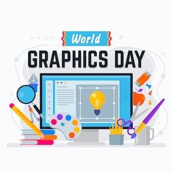 Płaski światowy dzień grafiki
