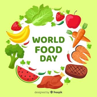 Płaski światowy dzień jedzenia z marchewką