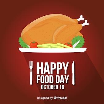 Płaski światowy dzień jedzenia z obsadzonym kurczakiem