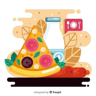 Płaski światowy dzień jedzenia z pizzą