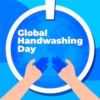 Płaski światowy dzień mycia rąk z rękami i umywalką
