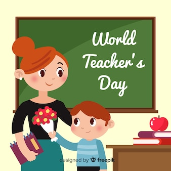 Płaski światowy dzień nauczyciela