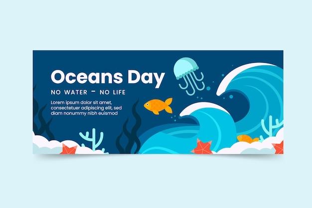 Płaski światowy dzień oceanów poziomy baner szablon