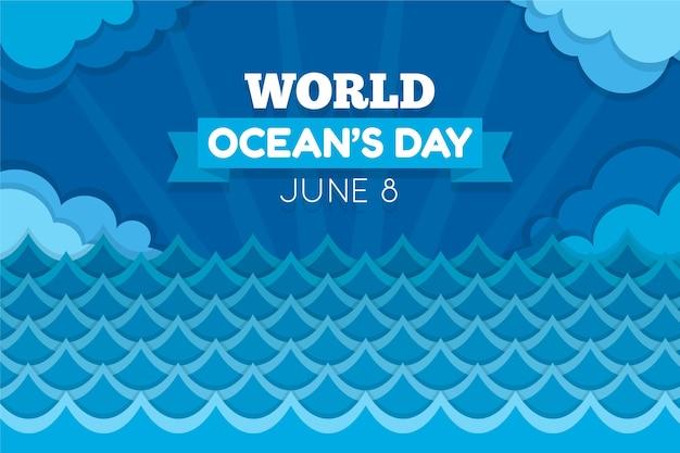 Płaski światowy Dzień Oceanów Darmowych Wektorów
