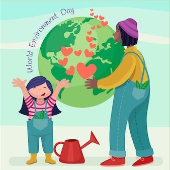 Płaski światowy dzień ochrony środowiska, ocalić ilustrację planety