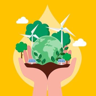 Płaski światowy dzień ochrony środowiska, ratując ilustrację planety