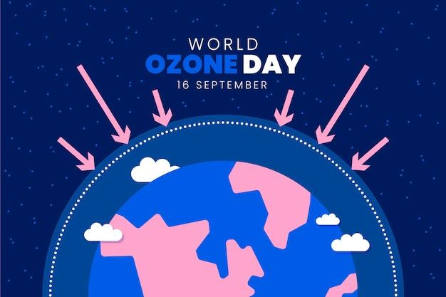 Płaski światowy dzień ozonu w tle