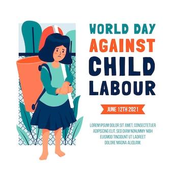 Płaski światowy dzień przeciwko ilustracji pracy dzieci