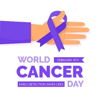 Płaski światowy dzień raka fioletowa wstążka pod ręką