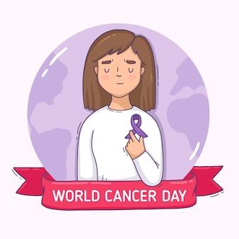 Płaski światowy dzień raka ilustracji