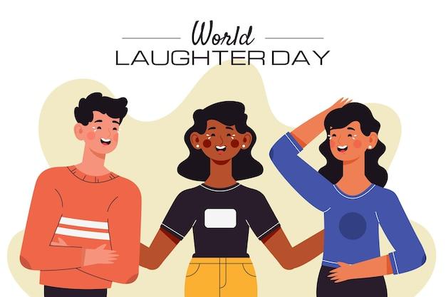 Płaski światowy dzień śmiechu ilustracja