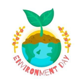 Płaski światowy dzień środowiska i sadzonka