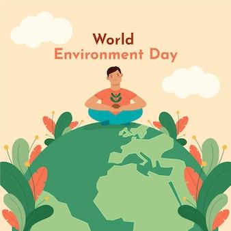 Płaski światowy dzień środowiska ilustracji
