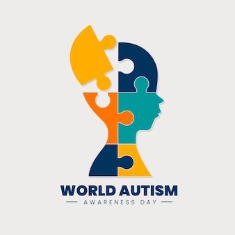 Płaski światowy dzień świadomości autyzmu z puzzlami
