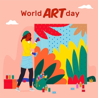 Płaski światowy dzień sztuki ilustracji