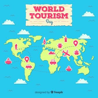 Płaski światowy dzień turystyki 2d mapa