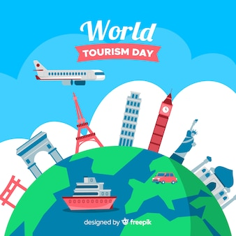 Płaski światowy dzień turystyki tło z zabytków