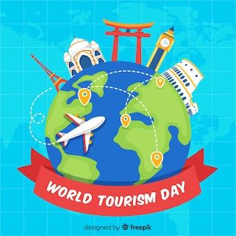 Płaski światowy dzień turystyki tło