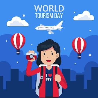 Płaski światowy dzień turystyki w tle