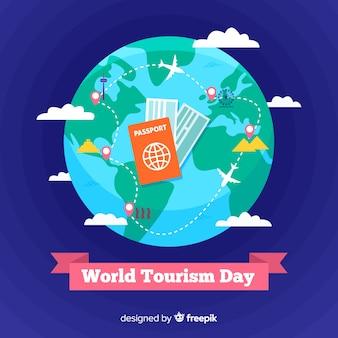 Płaski światowy dzień turystyki z biletami podróżnymi
