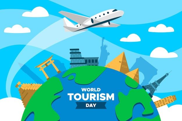 Płaski światowy dzień turystyki z samolotem