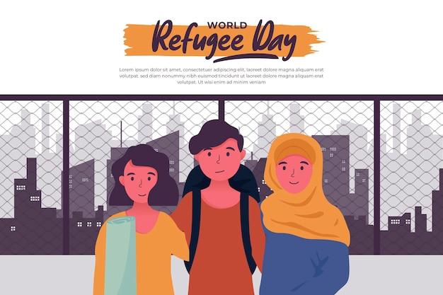 Płaski światowy dzień uchodźcy w obcym mieście