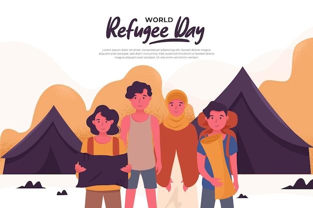 Płaski światowy dzień uchodźcy żyjący w namiotach