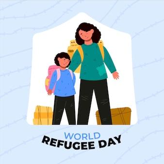 Płaski światowy dzień uchodźcy