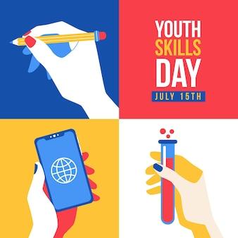 Płaski światowy dzień umiejętności młodzieży