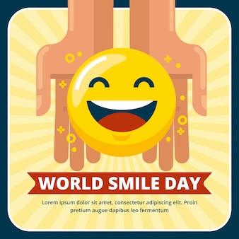 Płaski światowy dzień uśmiechu ilustracja