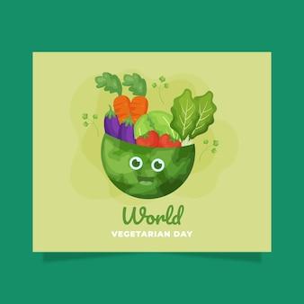 Płaski światowy dzień wegetariański szablon postu w mediach społecznościowych