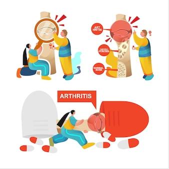 Płaski światowy dzień zapalenia stawów i osteoporoza z ilustracjami chorób stawów premium wektorów