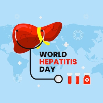 Płaski światowy dzień zapalenia wątroby