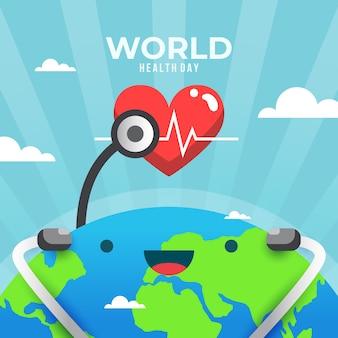 Płaski światowy dzień zdrowia i buźka ziemi